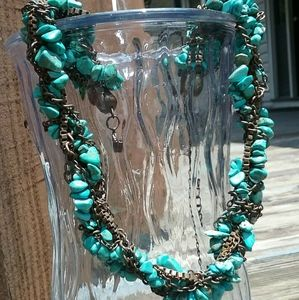 GORGEOUS Turquoise/bronze VTG rope braided choker